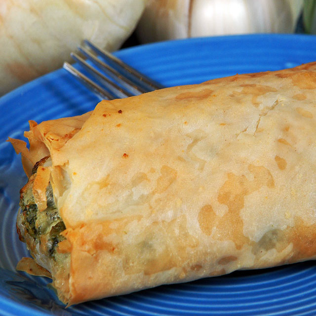 Spanakopita, spinach, feta, and filo!