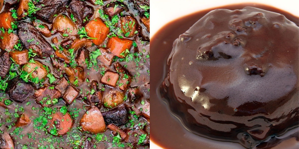 Beef Bourguignon & Chocolate Pudding
